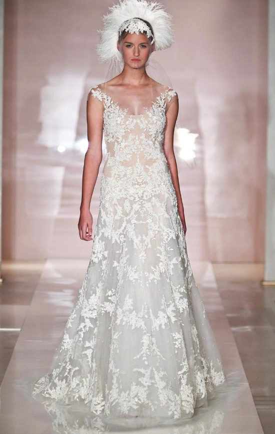 A-line Ivory Lace Wedding Dress
