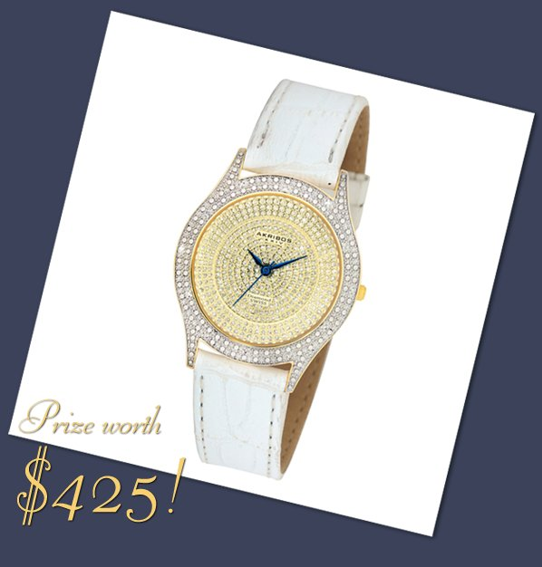 Win this diamond-encrusted white wedding watch worth $420!