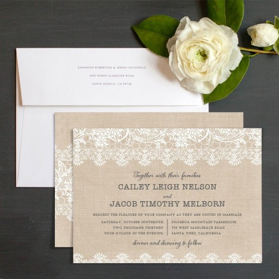 Vintage Burlap Stationery