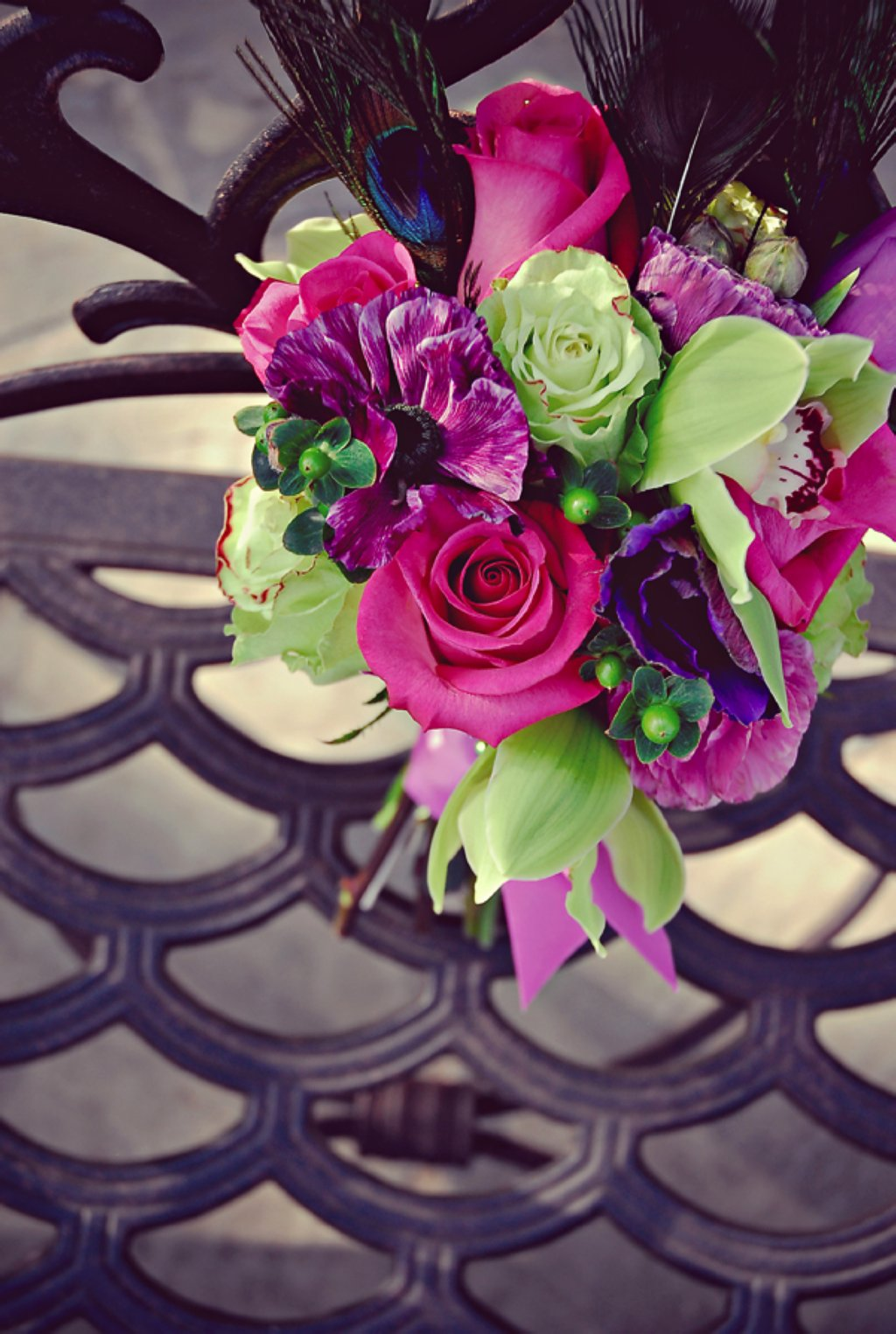 Statement Bridal Bouquet Of Pink Roses Purple Flowers Green Orchids