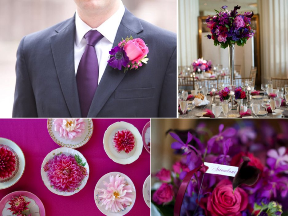 Whimsical Wedding Colors Deep Purple Hot Pink Ideabook By Onewed