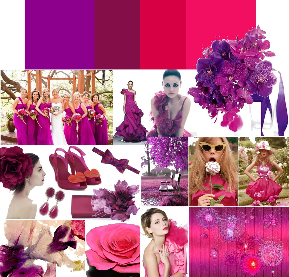 Hot pink and eggplant purple wedding colors | OneWed.com