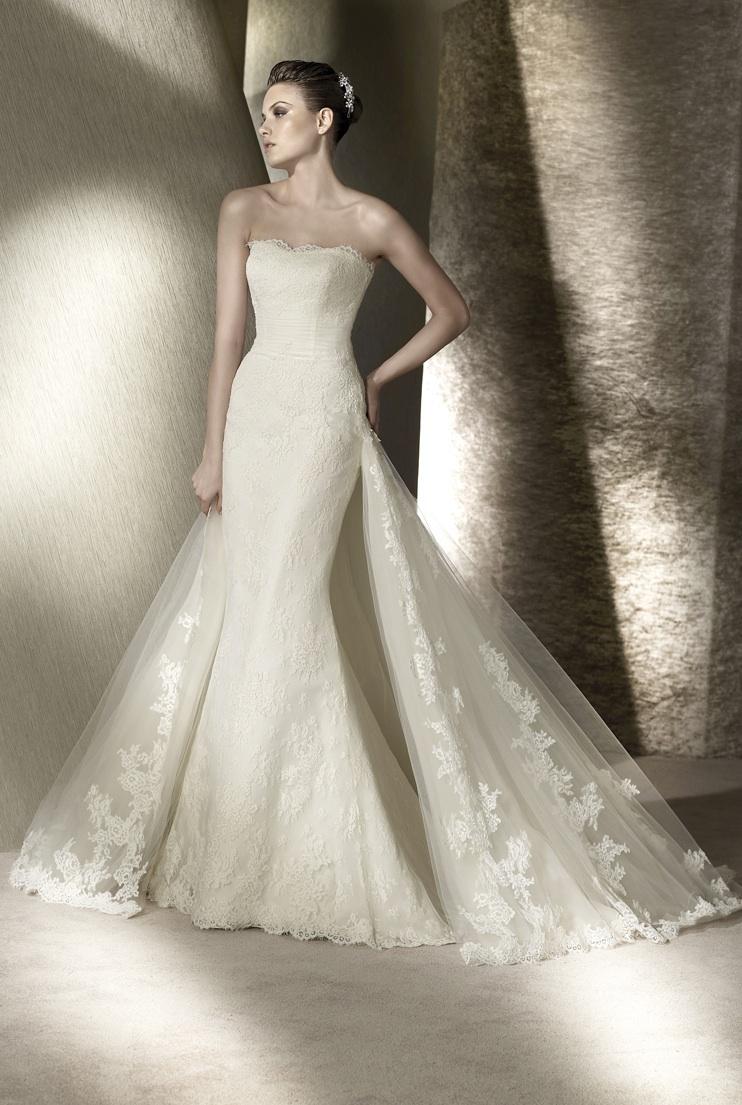 Romantic lace strapless mermaid san patrick wedding dress for San diego wedding dress