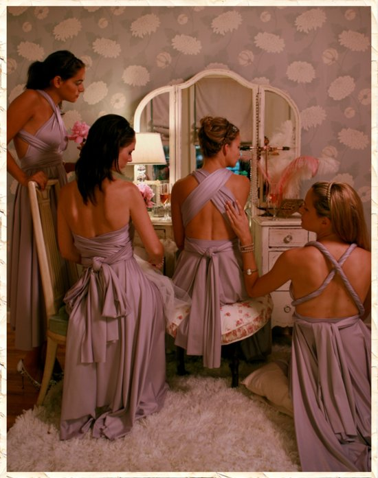 Dusty lilac convertible bridesmaids dresses, wrap 20 different ways!