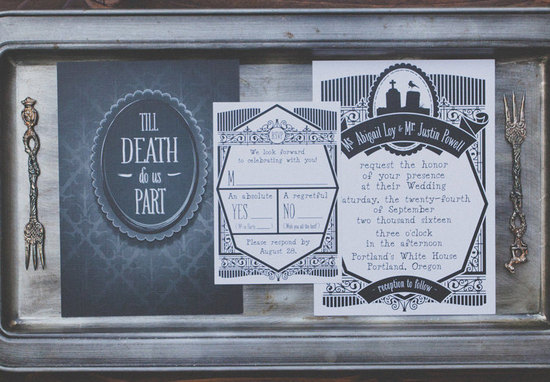 vintage gothic wedding invitation suite