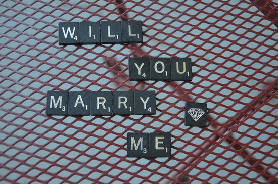 Will You Marry Me Scrabble Letters with Diamond