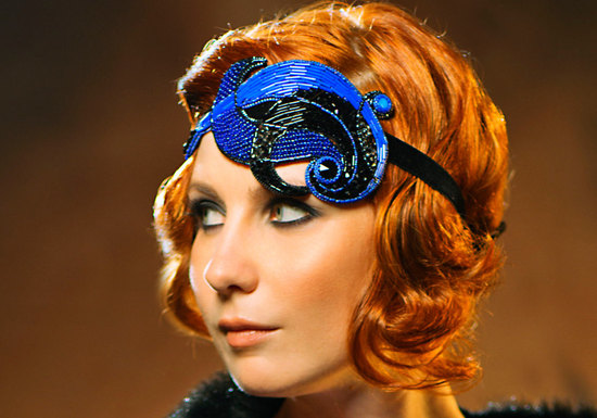 cobalt and black wedding headpiece