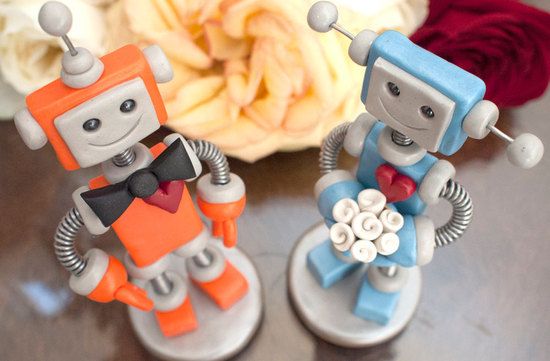 cute bride and groom robot wedding cake toppers