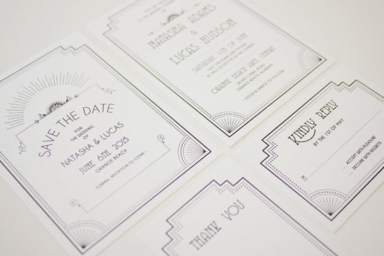 elegant white and black art deco wedding invitation set