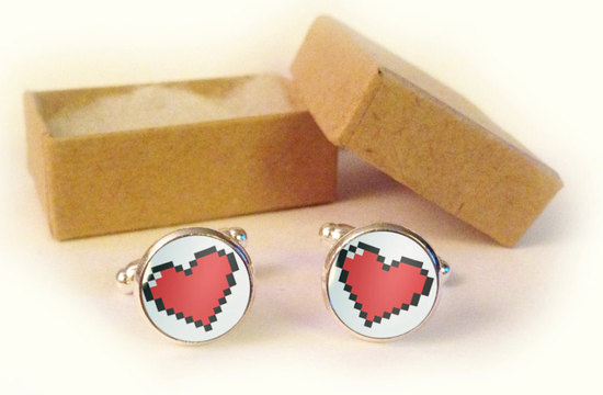pixel gamer wedding cuff links