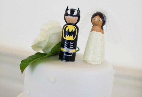 batman and bride wedding cake toppers