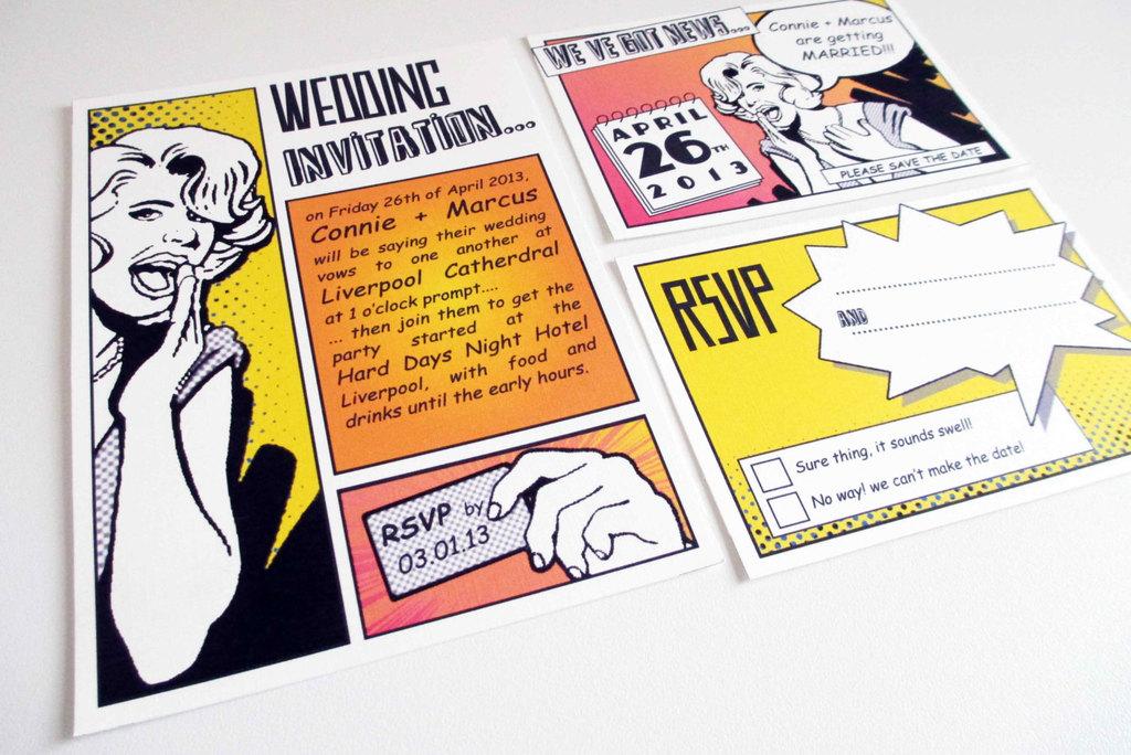 comic pop art wedding invitation