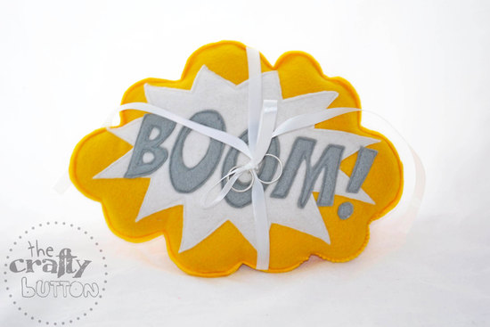 Boom ring bearer pillow for pop art weddings