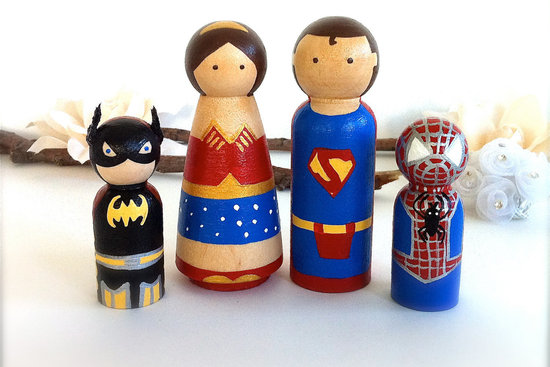 super hero family wedding cake toppers