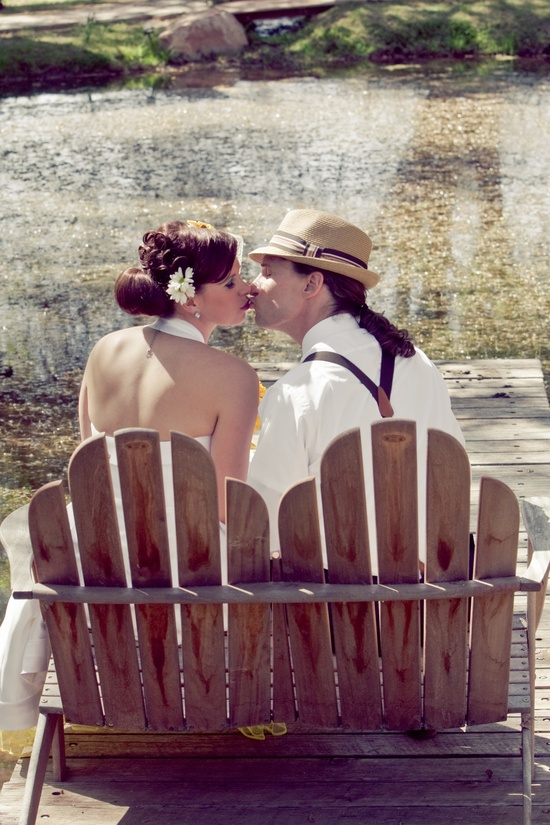 Arizona bride and groom pose for wedding photographer, kiss after saying I Do