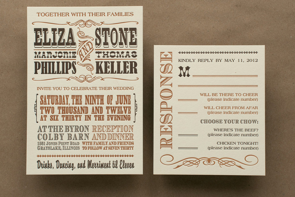 western letterpress wedding invitations
