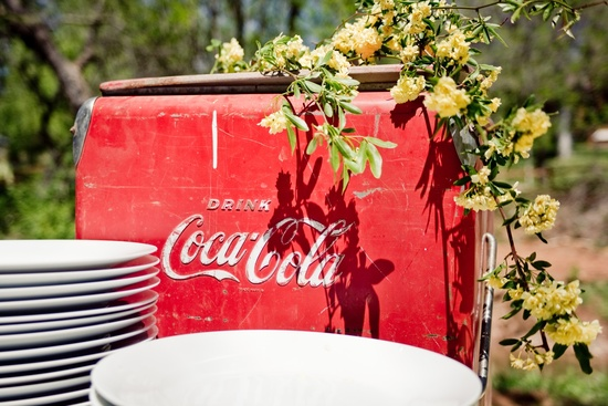 Antique Coca Cola case serves as wedding reception centerpiece