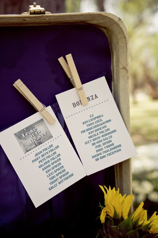 1950's-inspired wedding theme with old TV shows as table names