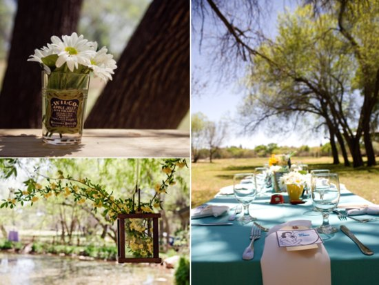 Retro-themed outdoor wedding reception tablescape and wedding flower centerpieces