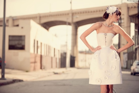Sweet Corseted Little Ivory Wedding Dress