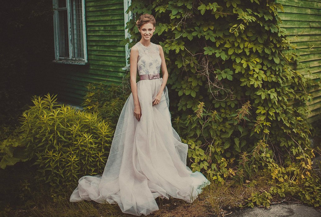 Pale Mauve Wedding Gown With Corset Illusion Bodice