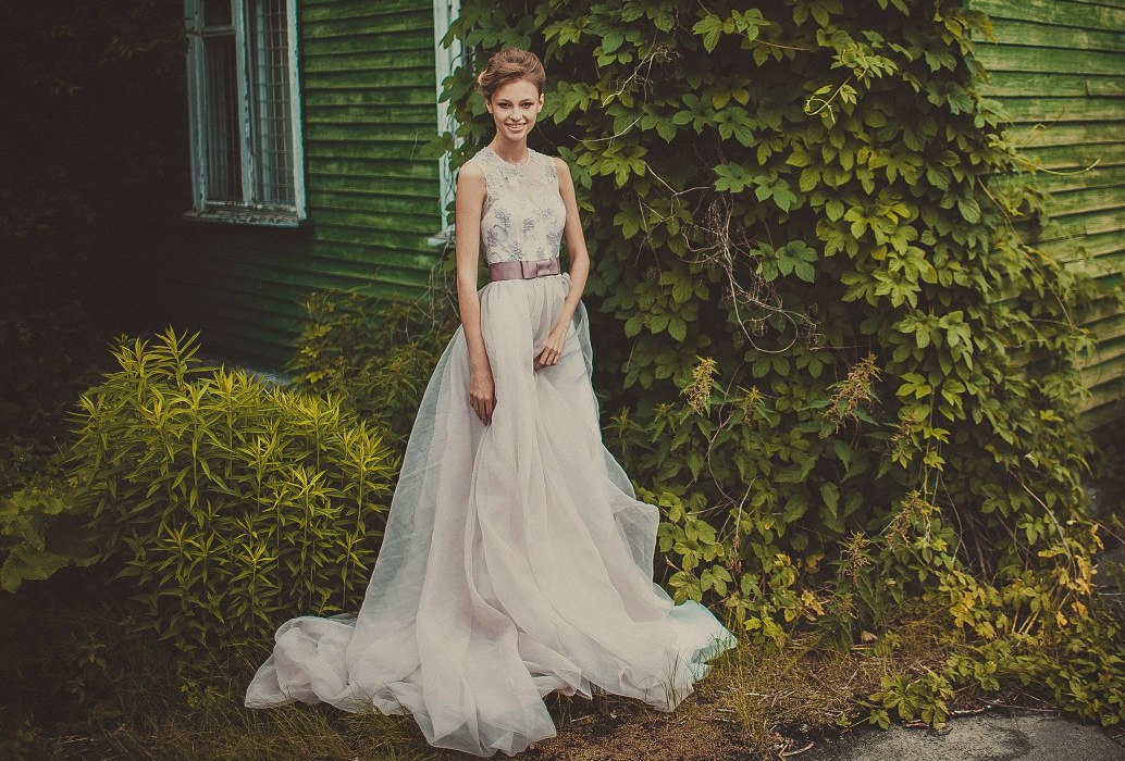 Wedding Dresses With Illusion Bodice : Pale mauve wedding gown with corset illusion bodice