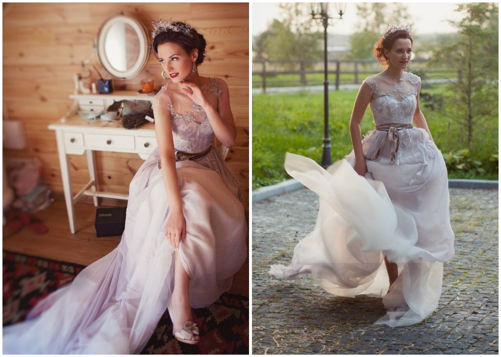 illusion and tulle corset wedding dress
