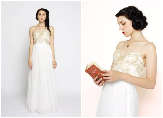 gold dusted lace and chiffon wedding dress