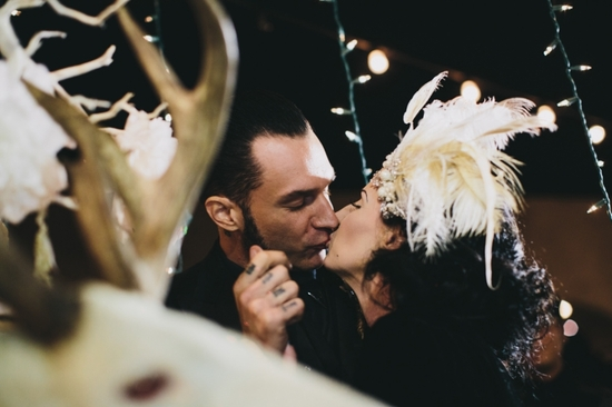 Portland real wedding goth bride and groom kiss