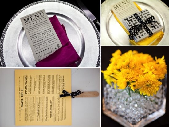 Yellow and wine wedding color palette