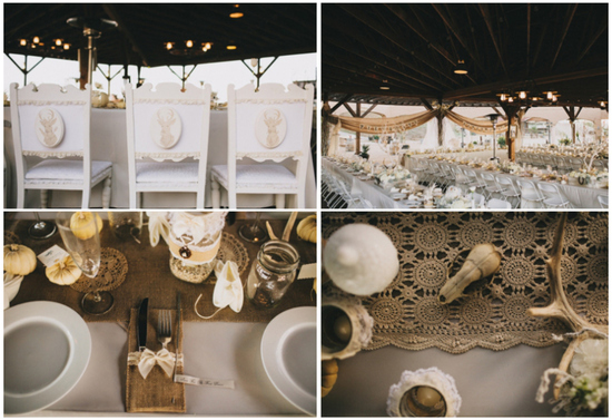 rustic goth wedding reception at a ranch