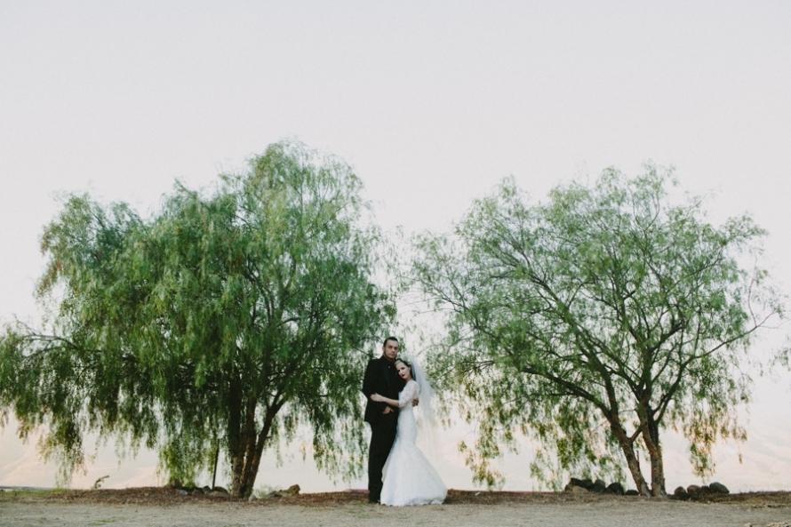 Portland-real-wedding-mod-goth-bride-and-groom-outside.full
