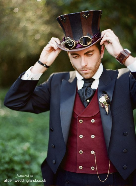 Rustic Steampunk wedding party portrait