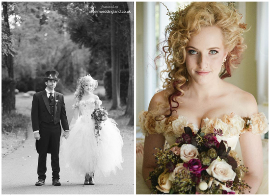 Steampunk bride wears corset wedding dress and classic baubles