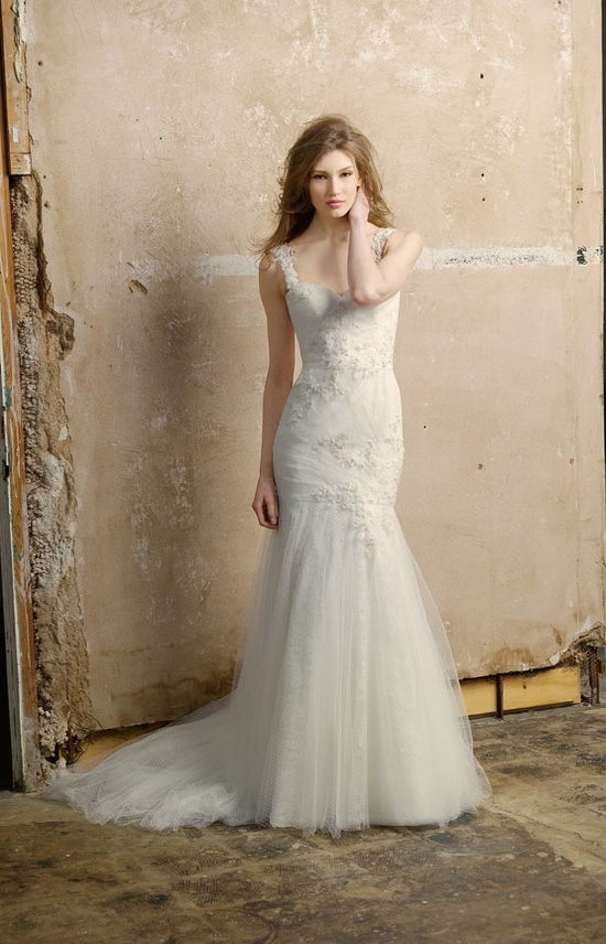 Lace drop-waist mermaid wedding dress with embellished straps