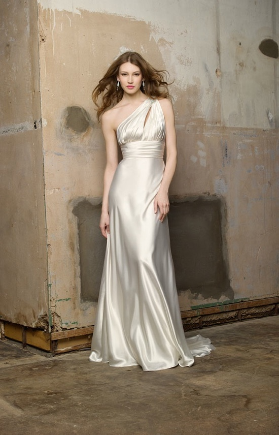 Sultry silk modified a-line wedding dress
