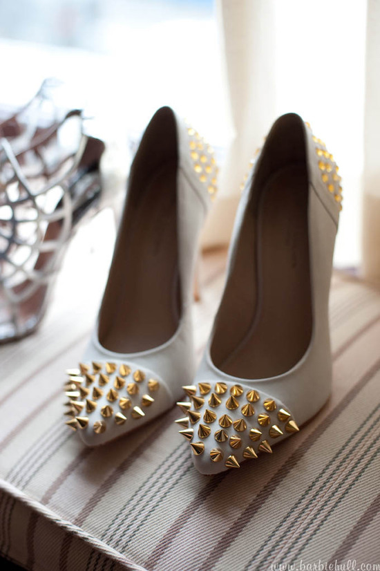 photo of studded punk wedding heels
