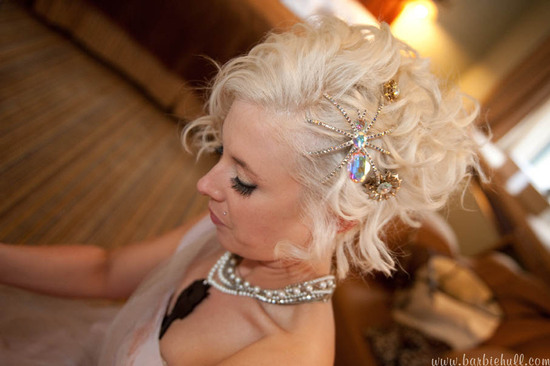 photo of adorable punk rock bride in short pink frock