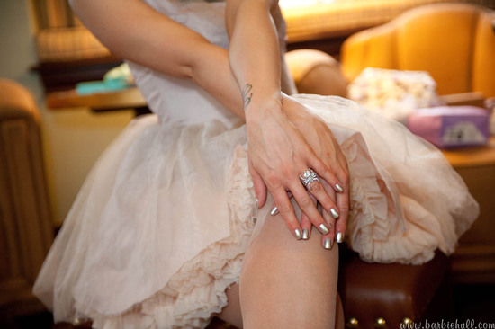 photo of studded punk wedding heels