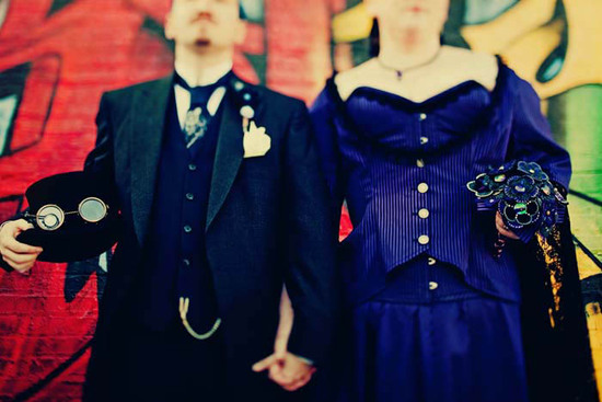 photo of Victorian Steampunk bride and groom attire