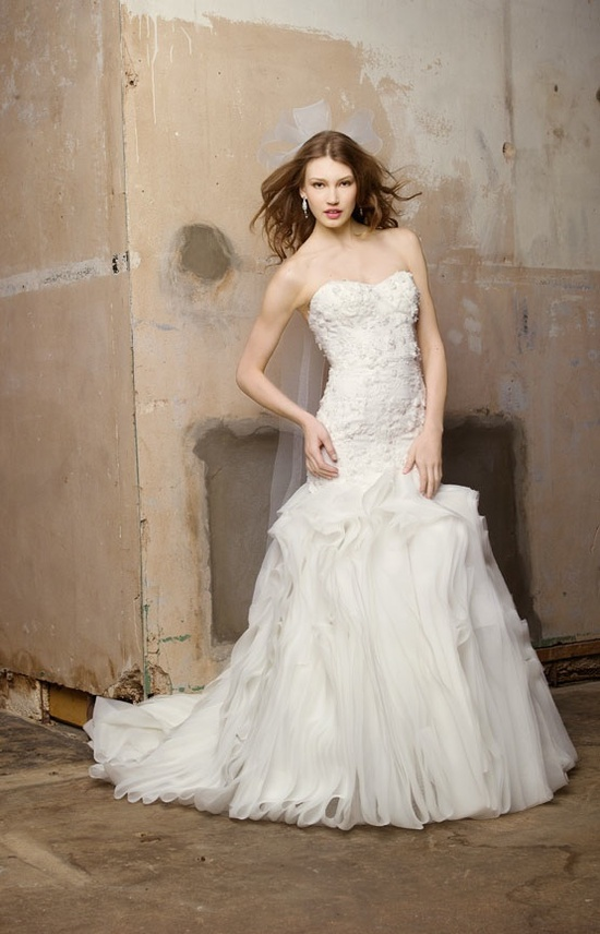 Ivory drop-waist a-line wedding dress