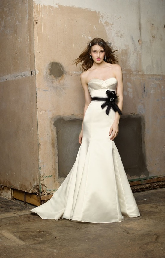 Ivory mermaid wedding dress with black sash