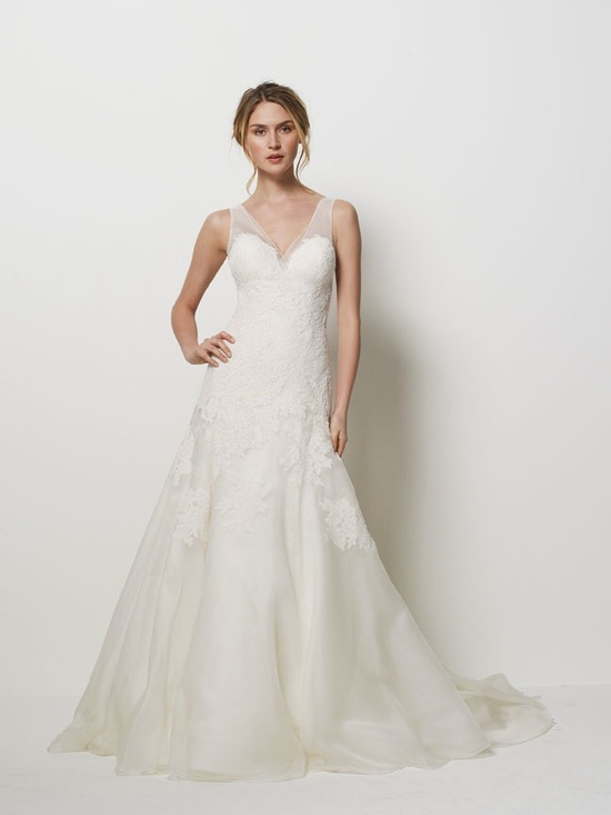 V-neck lace wedding dress with illusion straps