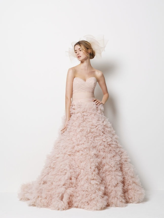 Blush pink ballgown wedding dress