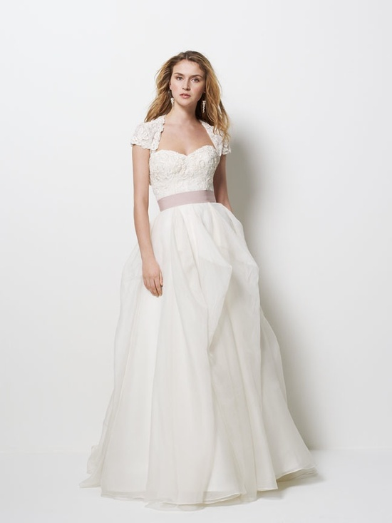 Princess wedding dress with embellished cap sleeve bolero