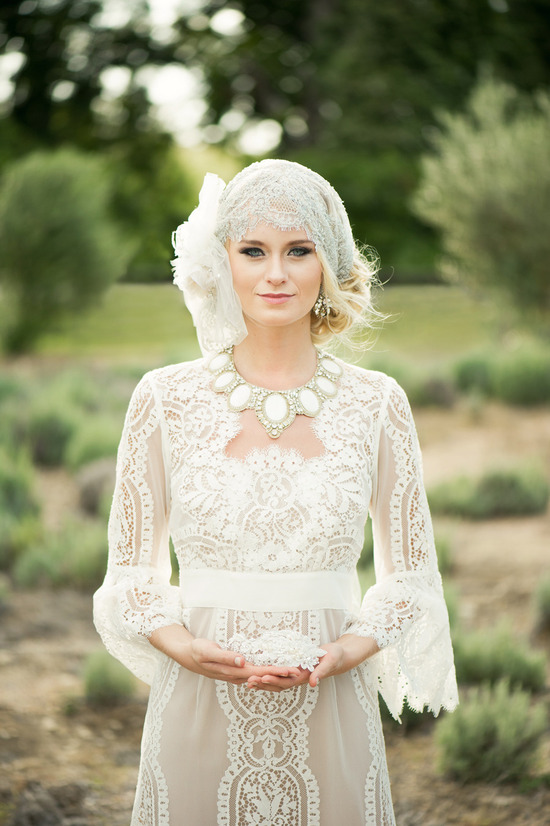 Romantic Crocheted bride wedding day style