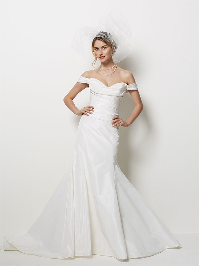 Ivory mermaid wedding dress with off-the-shoulder cap sleeves