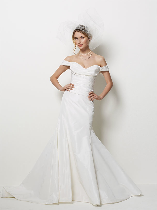 Ivory Mermaid Wedding Dress With Off The Shoulder Cap Sleeves