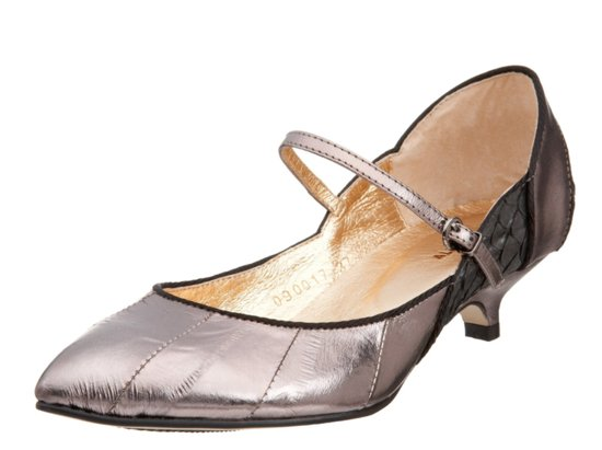Metallic low-heeled wedding shoes