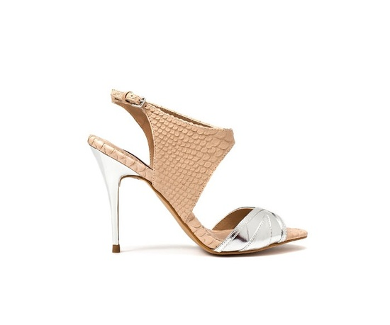Open-toe snakeskin and metallic bridal heels